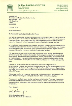 Letter to Met Commissioner about Grenfell Tower criminal investigation