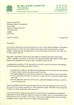Letter to Immigration Minister on treatment of victims of sexual violence