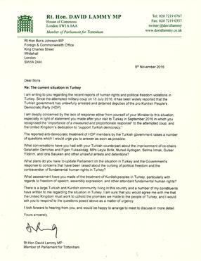 Letter to Boris Johnson on situation in Turkey