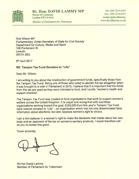 Tampon Tax Fund letter