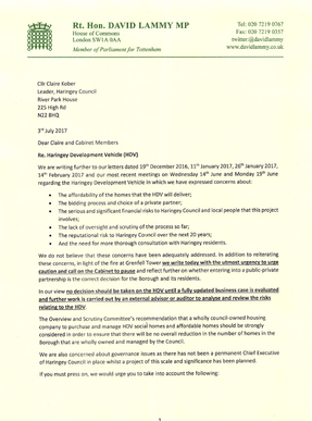 Haringey Development Vehicle letter
