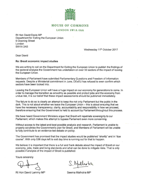 Demanding DExEU publish Brexit impact assessments