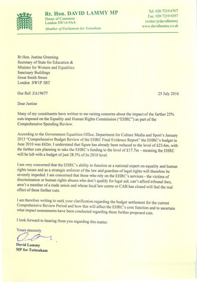 Letter to Justine Greening on EHRC cuts