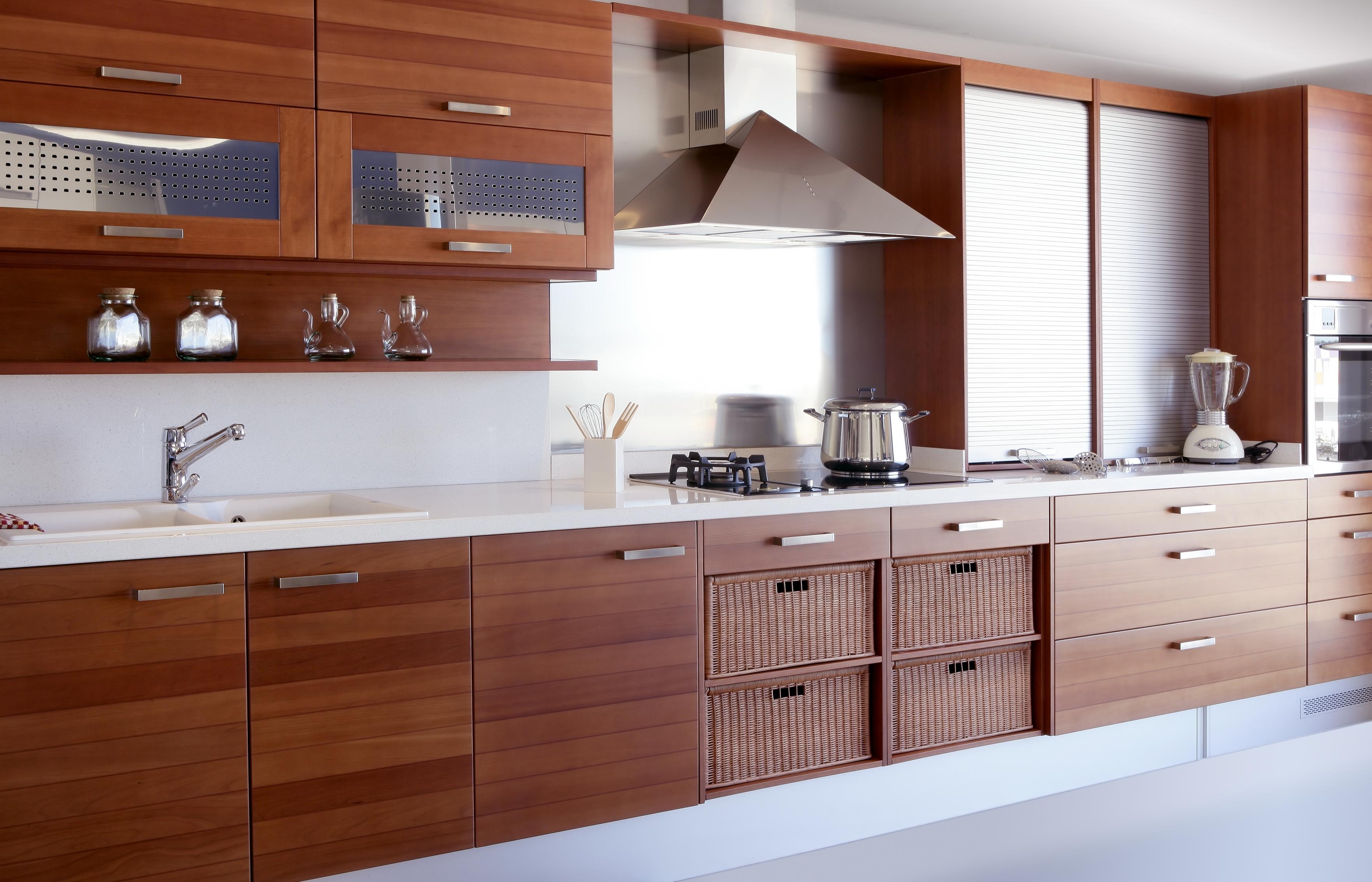 Cocina extra grande color madera