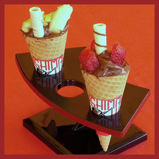 Cone de Morango / Banana com Nutella
