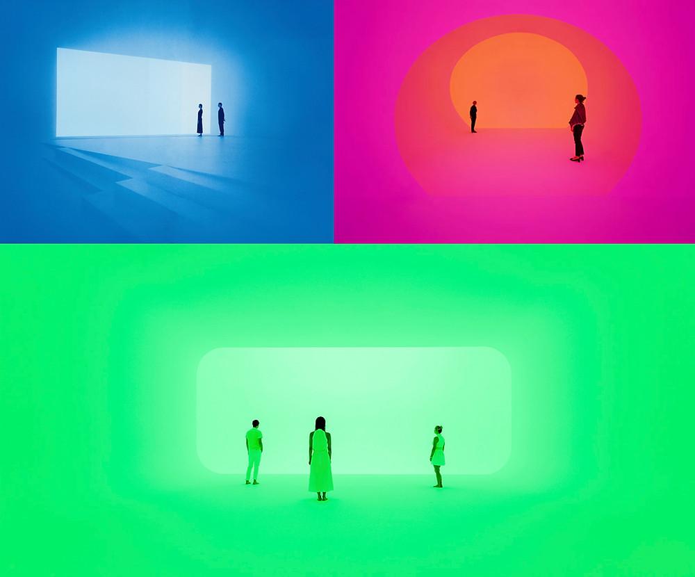 personas de adentran en espacios de luz y geometría