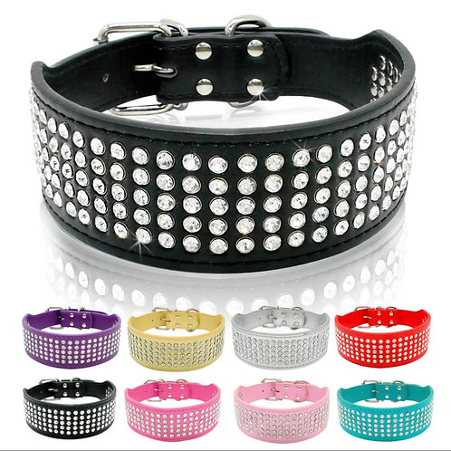 Bling Rhinestone Dog Collar- Wide