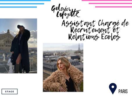 Galeries Lafayette - Assistant Chargé de Recrutement et Relations Écoles (Stage)
