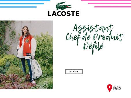 Lacoste - Assistant Chef de Produit Défilé (Stage)