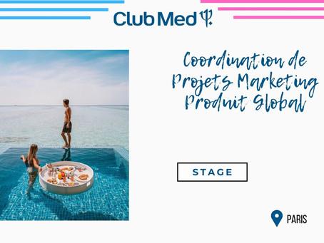 Club Med - Coordination de Projets Marketing Produit Global (Stage)