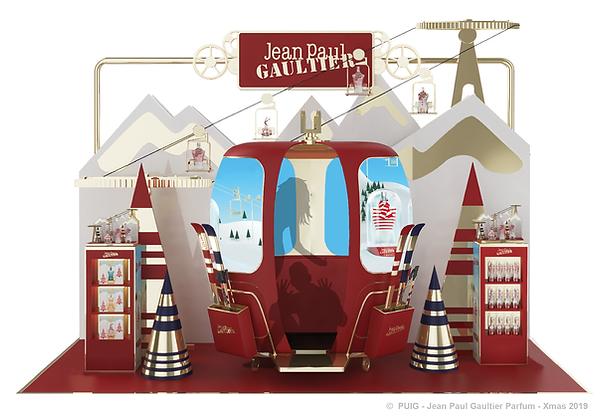 Jean-Paul GAULTIER Parfum Noël 2019 Xmas Ski Resort merchandising retail POS