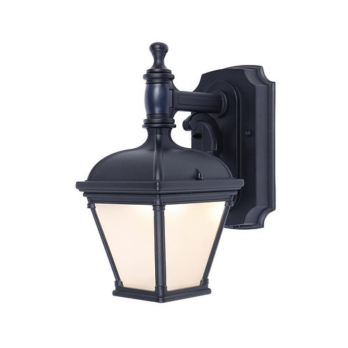 1-Light Black Motion Activated Outdoor Integrated LED Wall Mount Lantern