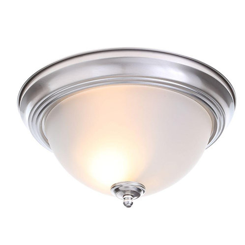 Commercial Electric 13 in. 2-Light Brushed Nickel Flushmount with Frosted Glass