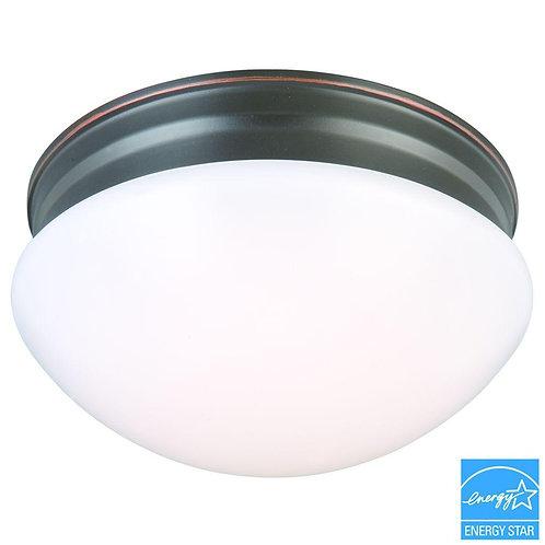 HB 9 in. 60-Watt Equivalent Oil-Rubbed Bronze Integrated LED Mushroom Flushmount