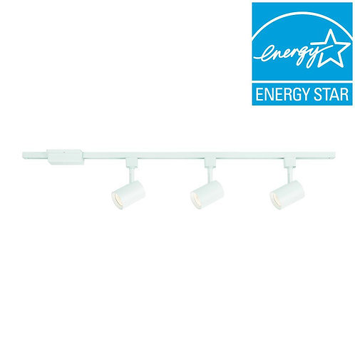 Hampton Bay 44 in. 3-Light WT Integrated LED Track Kit with Cylinder Metal Shade