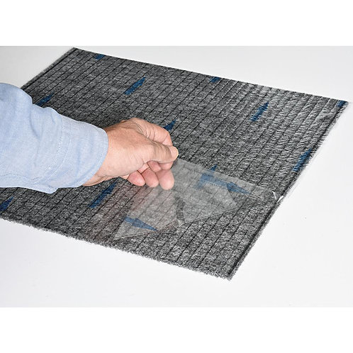 Foss Premium Self-Stick Ribbed Gunmetal Texture 18 in. x 18 in. Carpet Tile (16