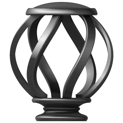 HDC Mix and Match 1 in. Swirl Cage Curtain Rod Finial Set in Gunmetal (2-Pack)