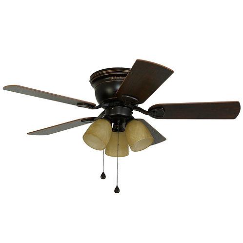 Harbor Breeze Centreville 42-in Oil-rubbed Bronze LED Indoor Flush Mount Ceiling