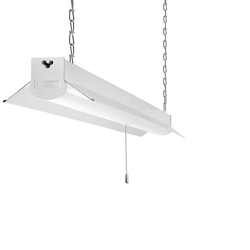 Commercial Electric 4 ft. Bright White Integrated LED Linkable Shop Light Fixtur