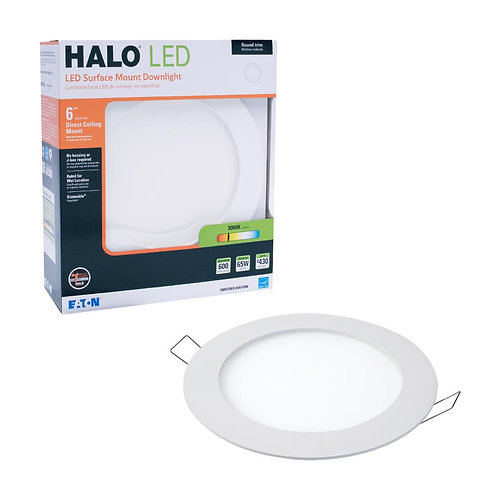 Halo SMD-DM 6 in. 3000K Lens White Round Integrated LED Surface Mount Recessed R