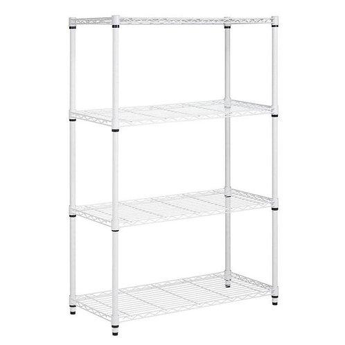 4-Shelf Steel Shelving Unit in White