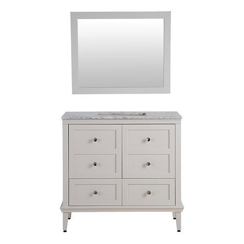 Abbotsford 36.5 in. W Vanity in Cream with Stone Effects Vanity Top in Winter Mi