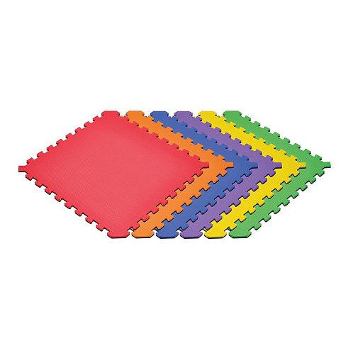 Black/Rainbow 24 in. x 24 in. x 0.51 in. Foam Interlocking Reversible Floor Mat