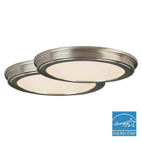 24-Watt Brushed Nickel Integrated LED Ceiling Flushmount (1-Commercial Electric