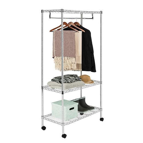 happimess Jane 35.4 in. x 71 in. 3-Tier Chrome Garment Rack