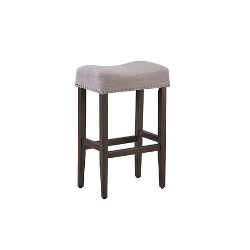 29IN WOOD STOOL WITH FABRIC SEAT