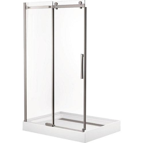 Delta 46 in. x 72 in. Semi-Framed Sliding Shower Door in Stainless