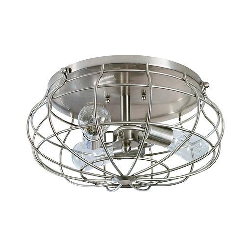 allen + roth Yordan 15-in Brushed Nickel Industrial Flush Mount Light