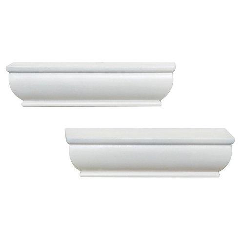 2-Shelf 8 in. L x 4 in. W Profile White Ledge