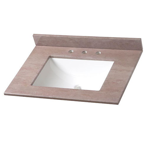 31 in. Stone Effects Vanity Top in Kaiser Grey with White Basin