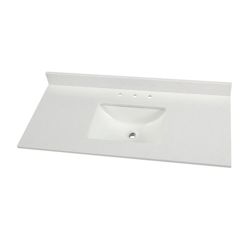 49 in. W x 22 in. D Engineered Marble Vanity Top in Snowstorm with White Single