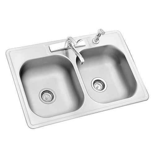 Glacier Bay All-in-One Drop-In Stainless Steel 33 in. 4-Hole Double Basin Kitche