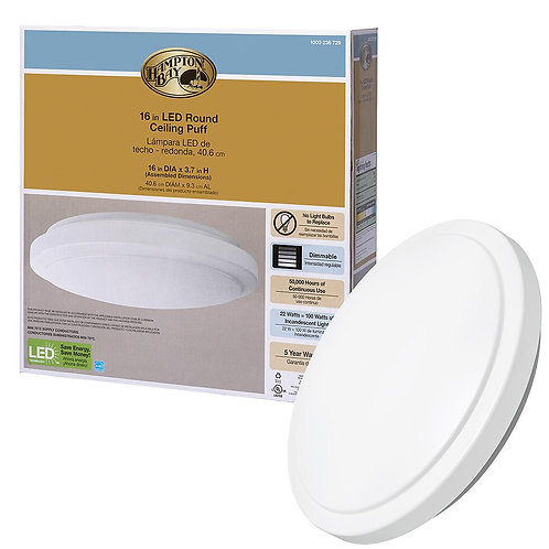 Hampton Bay 16 in. Bright White Round LED Flush Mount Ceiling Light Fixture 1640
