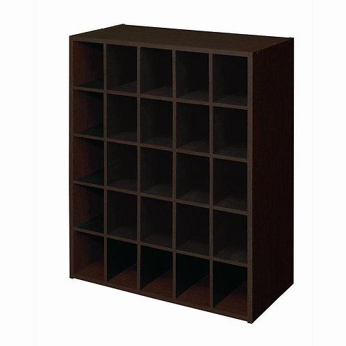 24 in. W x 32 in. H Espresso Stackable 25-Cube Organizer