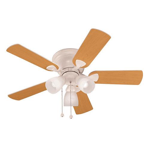 Harbor Breeze Centreville 42-in White LED Indoor Flush Mount Ceiling Fan with Li