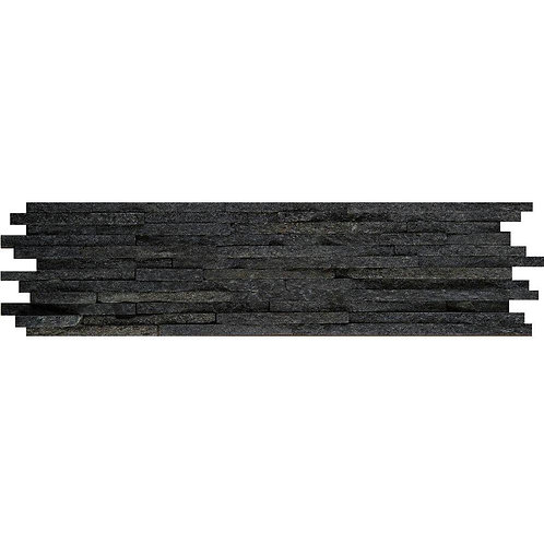 Emser Black Mini Stacked 6 in. x 24 in. Quartzite Slate Floor and Wall Tile