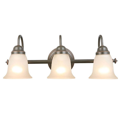 Hampton Bay Springston 3-Light Oil Rubbed Bronze Vanity Light with Tea Stained G