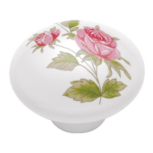 English Cozy 1-1/2 in. White/Pink Rose Cabinet Knob