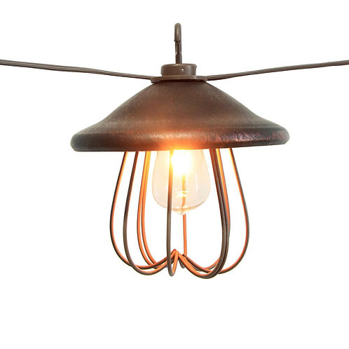 8-Light 11 ft. 11 in. String Light with Bronzed Metal Lampshade and Clear Bulb