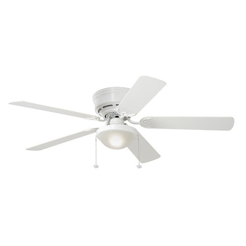 Harbor Breeze Armitage 52-in White LED Indoor Flush Mount Ceiling Fan with Light