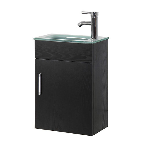 Sheffield Floating Vanity in Black Tempered Frosted Glass Vanity Top in Seafoam