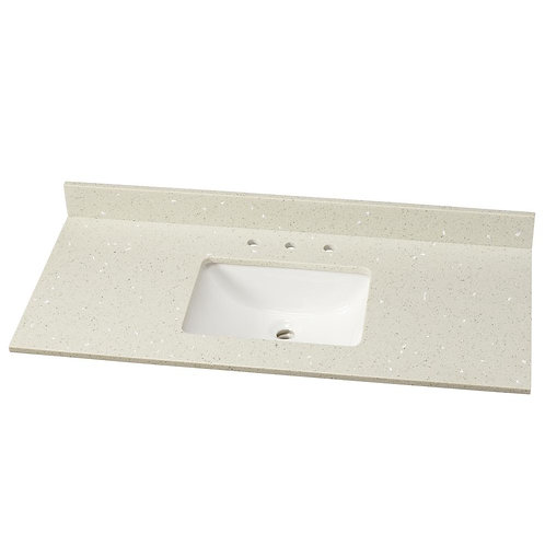 49 in. W Quartz Single Vanity Top in Sparkling White with White Basin