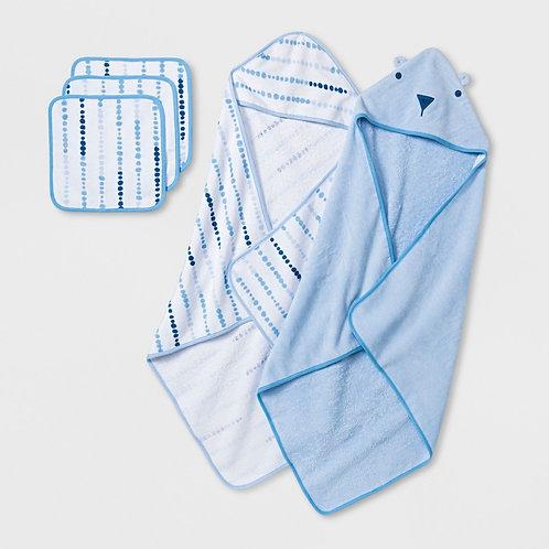 Baby Boys' Towel and Washcloth Set - Cloud Island Blue One Size