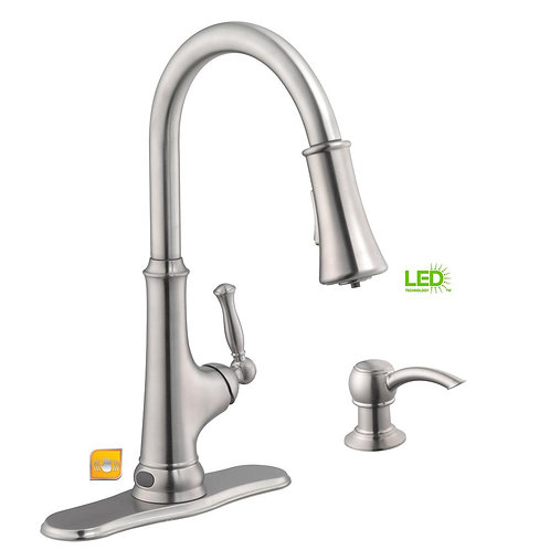 Glacier Bay Touchless LED Single-Handle Pull-Down Sprayer Kitchen Faucet with So