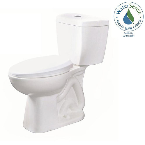 2-piece 0.8 GPF Ultra-High-Efficiency Single Flush Elongated Toilet Featuring St