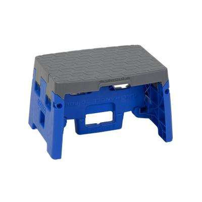 Cosco 1-Step Resin Molded Folding Step Stool with Type 1A in Blue and Gray